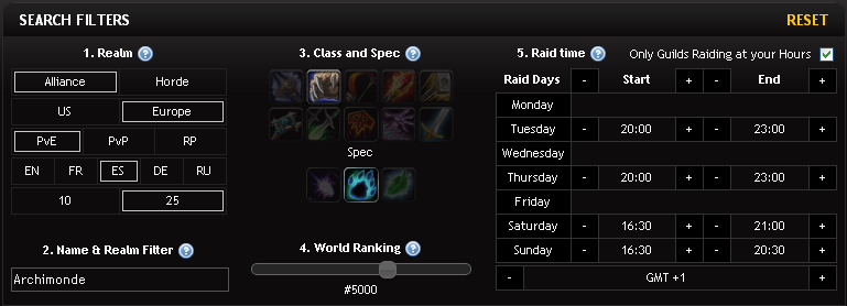 Guild Recruitment Search Filters